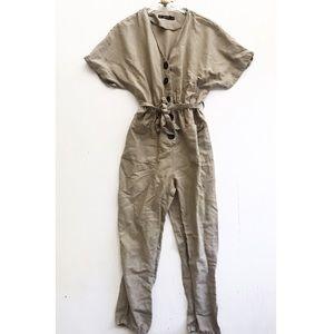 zara basic / brown button down jumpsuit safari